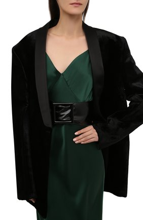 Женский кожаный пояс SAINT LAURENT черного цвета, арт. 669878/27K0D | Фото 2 (Кросс-КТ: Широкие)