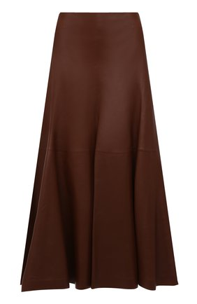 Женская кожаная юбка CHLOÉ коричневого цвета, арт. CHC21WCJ07218   Фото 1 (Длина Ж (юбки, платья, шорты): Миди; Материал подклада: Шелк; Стили: Гламурный; Женское Кросс-КТ: Юбка-одежда)