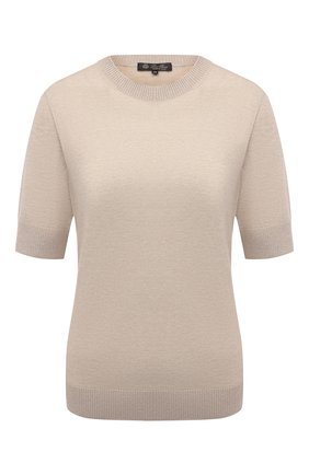 Женский кашемировый пуловер LORO PIANA бежевого цвета, арт. FAM0320 | Фото 1 (Длина (для топов): Стандартные; Материал внешний: Шерсть, Кашемир; Рукава: Короткие; Стили: Кэжуэл; Женское Кросс-КТ: Пуловер-одежда)