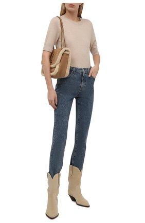 Женский кашемировый пуловер LORO PIANA бежевого цвета, арт. FAM0320 | Фото 2 (Длина (для топов): Стандартные; Материал внешний: Шерсть, Кашемир; Рукава: Короткие; Стили: Кэжуэл; Женское Кросс-КТ: Пуловер-одежда)