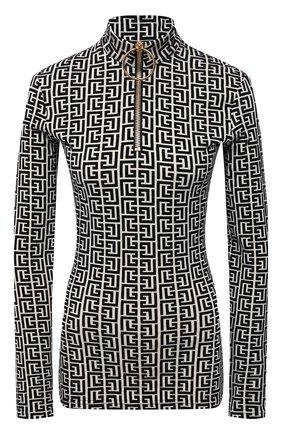 Женский пуловер из вискозы balmain x rossignol BALMAIN черно-белого цвета, арт. WF2AR150/J226   Фото 1 (Материал внешний: Вискоза; Длина (для топов): Стандартные; Рукава: Длинные; Стили: Спорт-шик; Женское Кросс-КТ: Пуловер-одежда)