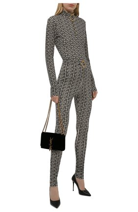 Женский пуловер из вискозы balmain x rossignol BALMAIN черно-белого цвета, арт. WF2AR150/J226   Фото 2 (Материал внешний: Вискоза; Длина (для топов): Стандартные; Рукава: Длинные; Стили: Спорт-шик; Женское Кросс-КТ: Пуловер-одежда)