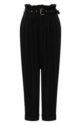 Женские брюки из вискозы BALMAIN черного цвета, арт. WF0PQ045/V089   Фото 1 (Материал внешний: Вискоза; Длина (брюки, джинсы): Стандартные; Стили: Гламурный; Женское Кросс-КТ: Брюки-одежда; Силуэт Ж (брюки и джинсы): Широкие)