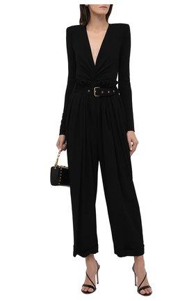 Женские брюки из вискозы BALMAIN черного цвета, арт. WF0PQ045/V089   Фото 2 (Материал внешний: Вискоза; Длина (брюки, джинсы): Стандартные; Стили: Гламурный; Женское Кросс-КТ: Брюки-одежда; Силуэт Ж (брюки и джинсы): Широкие)