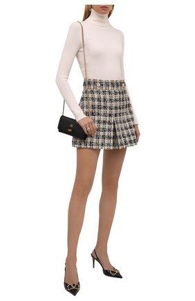 Женская юбка GUCCI черного цвета, арт. 661562/ZAGLP | Фото 2 (Длина Ж (юбки, платья, шорты): Мини; Материал подклада: Вискоза; Стили: Гламурный; Женское Кросс-КТ: Юбка-одежда)