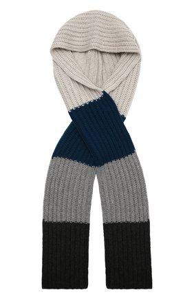 Женский кашемировый шарф-капюшон LORO PIANA синего цвета, арт. FAL9049 | Фото 1 (Материал: Кашемир, Шерсть)