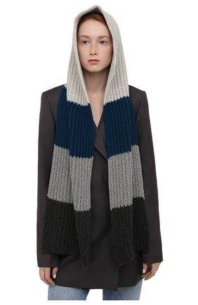 Женский кашемировый шарф-капюшон LORO PIANA синего цвета, арт. FAL9049 | Фото 2 (Материал: Кашемир, Шерсть)