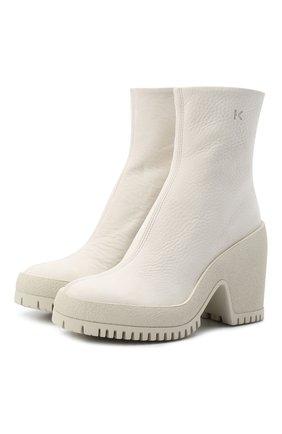 Женские кожаные ботильоны KENZO белого цвета, арт. FB62BT054L61 | Фото 1 (Подошва: Платформа; Каблук высота: Высокий; Материал внутренний: Натуральная кожа; Каблук тип: Устойчивый)