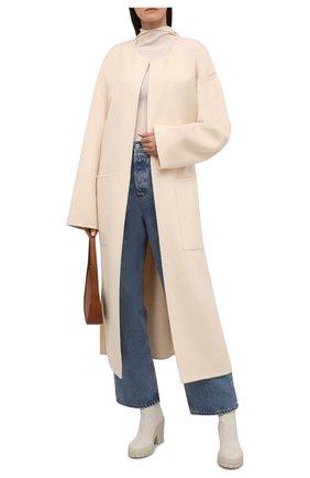 Женские кожаные ботильоны KENZO белого цвета, арт. FB62BT054L61 | Фото 2 (Подошва: Платформа; Каблук высота: Высокий; Материал внутренний: Натуральная кожа; Каблук тип: Устойчивый)
