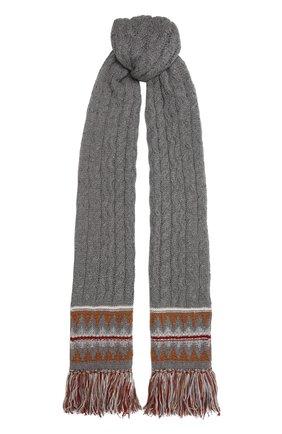 Женский кашемировый шарф LORO PIANA серого цвета, арт. FAL9121 | Фото 1 (Материал: Кашемир, Шерсть)