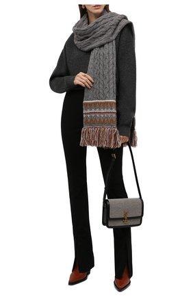 Женский кашемировый шарф LORO PIANA серого цвета, арт. FAL9121 | Фото 2 (Материал: Кашемир, Шерсть)