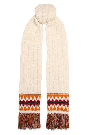 Женский кашемировый шарф LORO PIANA кремвого цвета, арт. FAL9121 | Фото 1 (Материал: Шерсть, Кашемир)