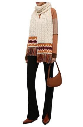 Женский кашемировый шарф LORO PIANA кремвого цвета, арт. FAL9121 | Фото 2 (Материал: Шерсть, Кашемир)