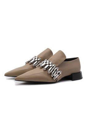 Женские кожаные туфли JIL SANDER хаки цвета, арт. JS37210A-14156 | Фото 1 (Каблук высота: Низкий; Материал внутренний: Натуральная кожа; Подошва: Плоская; Каблук тип: Устойчивый)
