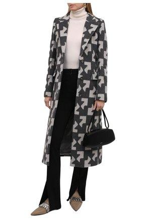 Женские кожаные туфли JIL SANDER хаки цвета, арт. JS37210A-14156 | Фото 2 (Каблук высота: Низкий; Материал внутренний: Натуральная кожа; Подошва: Плоская; Каблук тип: Устойчивый)