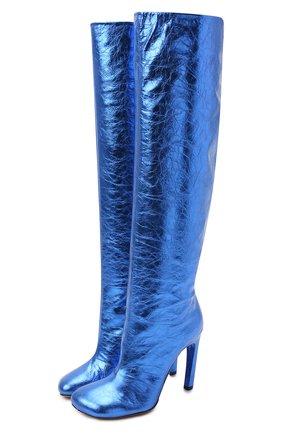 Женские кожаные ботфорты DRIES VAN NOTEN синего цвета, арт. WW212/212/H100/QU120 | Фото 1 (Подошва: Плоская; Высота голенища: Высокие; Каблук высота: Высокий; Материал внутренний: Натуральная кожа; Каблук тип: Шпилька)