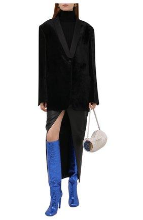 Женские кожаные ботфорты DRIES VAN NOTEN синего цвета, арт. WW212/212/H100/QU120 | Фото 2 (Подошва: Плоская; Высота голенища: Высокие; Каблук высота: Высокий; Материал внутренний: Натуральная кожа; Каблук тип: Шпилька)
