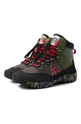 Детские текстильные ботинки PREMIATA WILL BE зеленого цвета, арт. TREK/M0301502/CHILD | Фото 1 (Материал утеплителя: Натуральный мех; Материал внешний: Текстиль)