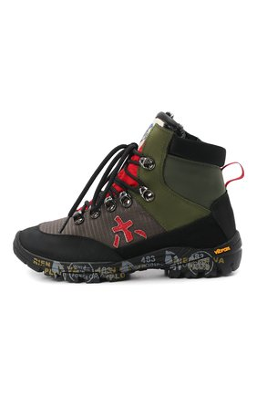 Детские текстильные ботинки PREMIATA WILL BE зеленого цвета, арт. TREK/M0301502/CHILD | Фото 2 (Материал утеплителя: Натуральный мех; Материал внешний: Текстиль)