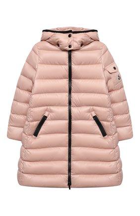 Детское пуховое пальто moka MONCLER розового цвета, арт. G2-954-1C501-10-68950/4-6A | Фото 1 (Материал подклада: Синтетический материал; Материал утеплителя: Пух и перо; Материал внешний: Синтетический материал)