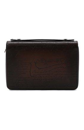 Мужской кожаный несессер BERLUTI темно-коричневого цвета, арт. N231932 | Фото 1 (Материал: Натуральная кожа; Размер: small)