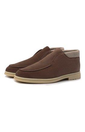 Мужские замшевые ботинки open wintery walk LORO PIANA коричневого цвета, арт. FAL9979 | Фото 1 (Материал утеплителя: Натуральный мех; Мужское Кросс-КТ: Ботинки-обувь, зимние ботинки; Подошва: Плоская; Материал внешний: Замша)
