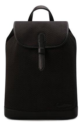 Мужской текстильный рюкзак BRIONI темно-коричневого цвета, арт. 0IUG0L/01708 | Фото 1 (Материал: Текстиль; Размер: large)
