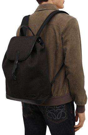 Мужской текстильный рюкзак BRIONI темно-коричневого цвета, арт. 0IUG0L/01708 | Фото 2 (Материал: Текстиль; Размер: large)