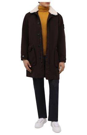 Мужская утепленная куртка STONE ISLAND темно-коричневого цвета, арт. 751570749 | Фото 2 (Материал утеплителя: Шерсть; Материал внешний: Синтетический материал; Рукава: Длинные; Длина (верхняя одежда): До середины бедра; Стили: Кэжуэл; Мужское Кросс-КТ: утепленные куртки; Кросс-КТ: Куртка)
