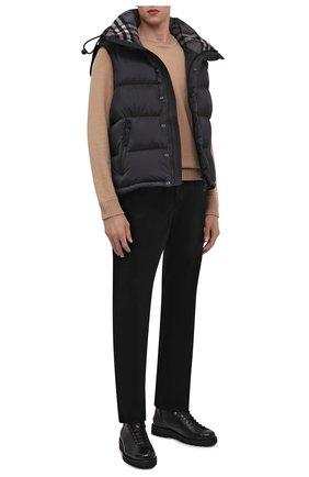Мужские брюки из хлопка и кашемира ZILLI черного цвета, арт. M0W-D0150-VECA1/R001   Фото 2 (Материал внешний: Хлопок; Длина (брюки, джинсы): Стандартные; Случай: Повседневный; Стили: Кэжуэл)