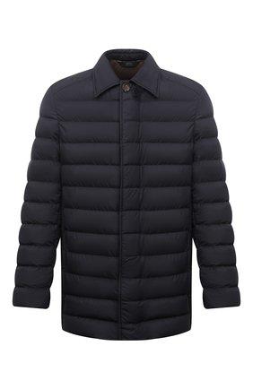 Мужская пуховая куртка BRIONI темно-синего цвета, арт. SUNR0L/P0908   Фото 1 (Рукава: Длинные; Длина (верхняя одежда): Короткие; Материал внешний: Синтетический материал; Материал подклада: Синтетический материал; Материал утеплителя: Пух и перо; Мужское Кросс-КТ: пуховик-короткий; Кросс-КТ: Куртка; Стили: Классический)