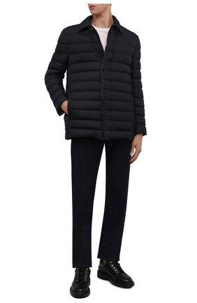 Мужская пуховая куртка BRIONI темно-синего цвета, арт. SUNR0L/P0908   Фото 2 (Рукава: Длинные; Длина (верхняя одежда): Короткие; Материал внешний: Синтетический материал; Материал подклада: Синтетический материал; Материал утеплителя: Пух и перо; Мужское Кросс-КТ: пуховик-короткий; Кросс-КТ: Куртка; Стили: Классический)