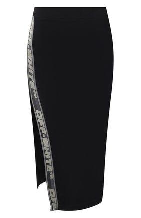 Женская юбка OFF-WHITE черного цвета, арт. 0WVS003F21JER001   Фото 1 (Материал внешний: Синтетический материал; Длина Ж (юбки, платья, шорты): Миди; Стили: Гламурный; Женское Кросс-КТ: Юбка-одежда)