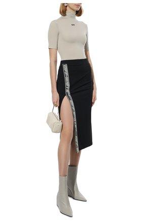Женская юбка OFF-WHITE черного цвета, арт. 0WVS003F21JER001   Фото 2 (Материал внешний: Синтетический материал; Длина Ж (юбки, платья, шорты): Миди; Стили: Гламурный; Женское Кросс-КТ: Юбка-одежда)