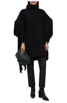 Женская шерстяное пончо JIL SANDER темно-синего цвета, арт. JSWT752305-WTY20098A   Фото 2 (Материал внешний: Шерсть; Стили: Минимализм; Длина (верхняя одежда): До середины бедра)