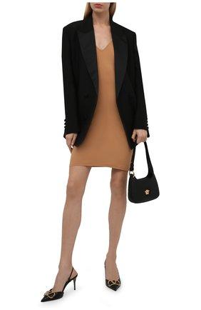 Женское платье JIL SANDER бежевого цвета, арт. JSWT705045-WT477108   Фото 2 (Материал внешний: Синтетический материал; Длина Ж (юбки, платья, шорты): Мини; Стили: Минимализм; Женское Кросс-КТ: Сарафаны, Платье-одежда; Случай: Повседневный)