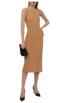 Женское платье JIL SANDER бежевого цвета, арт. JSWT705038-WT477108   Фото 2 (Материал внешний: Синтетический материал; Стили: Минимализм; Длина Ж (юбки, платья, шорты): До колена; Женское Кросс-КТ: Платье-одежда; Случай: Повседневный)