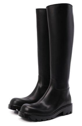 Женские кожаные сапоги strut BOTTEGA VENETA черного цвета, арт. 677308/V1A00 | Фото 1 (Каблук высота: Низкий; Подошва: Платформа; Материал внутренний: Натуральная кожа; Каблук тип: Устойчивый; Высота голенища: Высокие)