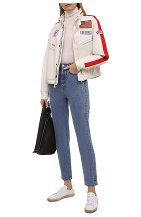 Женская хлопковая куртка POLO RALPH LAUREN кремвого цвета, арт. 211847146 | Фото 2 (Материал внешний: Хлопок; Рукава: Длинные; Материал подклада: Хлопок; Кросс-КТ: Куртка; Стили: Спорт-шик; Длина (верхняя одежда): Короткие)