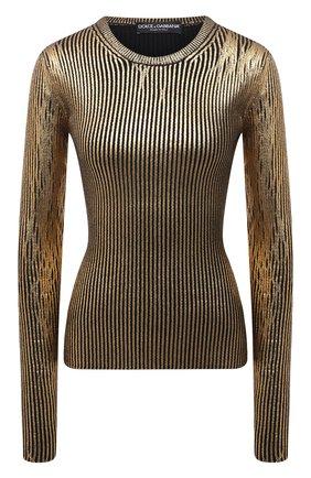 Женский шерстяной пуловер DOLCE & GABBANA золотого цвета, арт. FXE81T/JBVL8 | Фото 1 (Длина (для топов): Стандартные; Материал внешний: Шерсть; Рукава: Длинные)