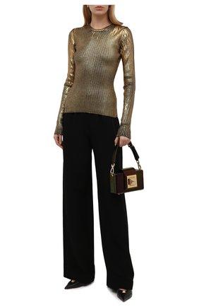 Женский шерстяной пуловер DOLCE & GABBANA золотого цвета, арт. FXE81T/JBVL8 | Фото 2 (Длина (для топов): Стандартные; Материал внешний: Шерсть; Рукава: Длинные)