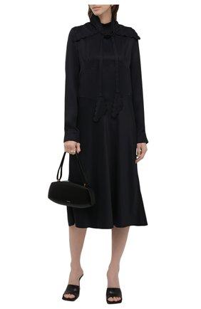 Женское платье из вискозы JIL SANDER темно-синего цвета, арт. JSWT505380-WT381500   Фото 2 (Длина Ж (юбки, платья, шорты): Миди; Материал внешний: Вискоза; Рукава: Длинные; Женское Кросс-КТ: Платье-одежда, платье-рубашка; Случай: Повседневный; Стили: Кэжуэл)