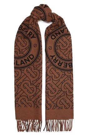 Женский кашемировый шарф BURBERRY коричневого цвета, арт. 8046615   Фото 1 (Материал: Кашемир, Шерсть)