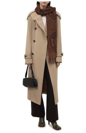 Женский кашемировый шарф BURBERRY коричневого цвета, арт. 8046615   Фото 2 (Материал: Кашемир, Шерсть)