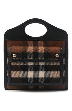 Женская сумка pocket medium BURBERRY коричневого цвета, арт. 8047010   Фото 1 (Материал: Текстиль; Ремень/цепочка: На ремешке; Размер: medium; Сумки-технические: Сумки top-handle, Сумки через плечо)
