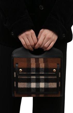 Женская сумка pocket medium BURBERRY коричневого цвета, арт. 8047010   Фото 2 (Материал: Текстиль; Ремень/цепочка: На ремешке; Размер: medium; Сумки-технические: Сумки top-handle, Сумки через плечо)