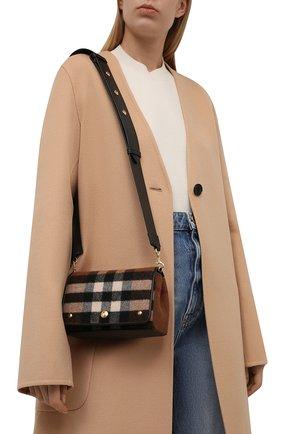 Женская сумка hackberry BURBERRY коричневого цвета, арт. 8047076   Фото 2 (Ремень/цепочка: На ремешке; Материал: Текстиль; Размер: mini; Сумки-технические: Сумки через плечо)