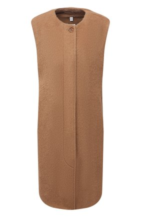 Женский шерстяной жилет BURBERRY бежевого цвета, арт. 8047162 | Фото 1 (Материал подклада: Купро; Материал внешний: Шерсть; Длина (верхняя одежда): До колена; Стили: Кэжуэл)