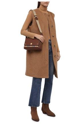 Женский шерстяной жилет BURBERRY бежевого цвета, арт. 8047162 | Фото 2 (Материал подклада: Купро; Материал внешний: Шерсть; Длина (верхняя одежда): До колена; Стили: Кэжуэл)