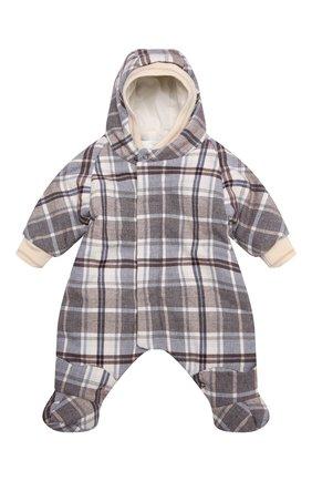 Детский комбинезон с пуховым конвертом CHEPE коричневого цвета, арт. 71663   Фото 2 (Материал утеплителя: Пух и перо; Рукава: Длинные)